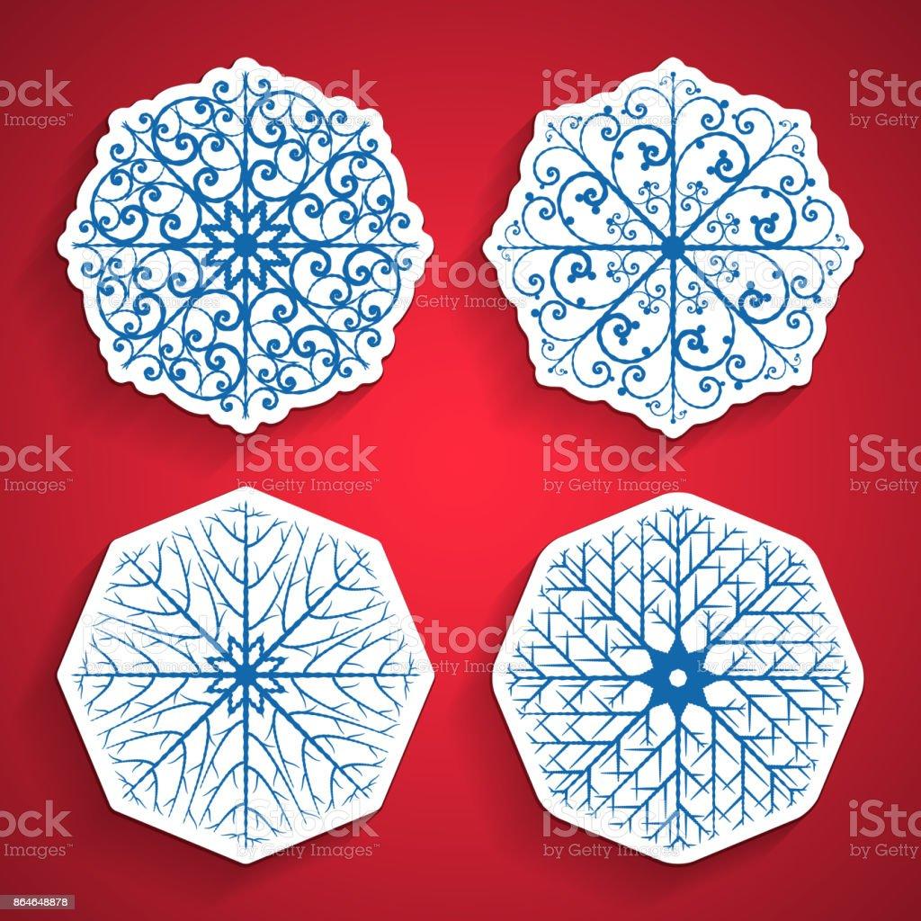 Snowflakes set paper design on red background vector art illustration