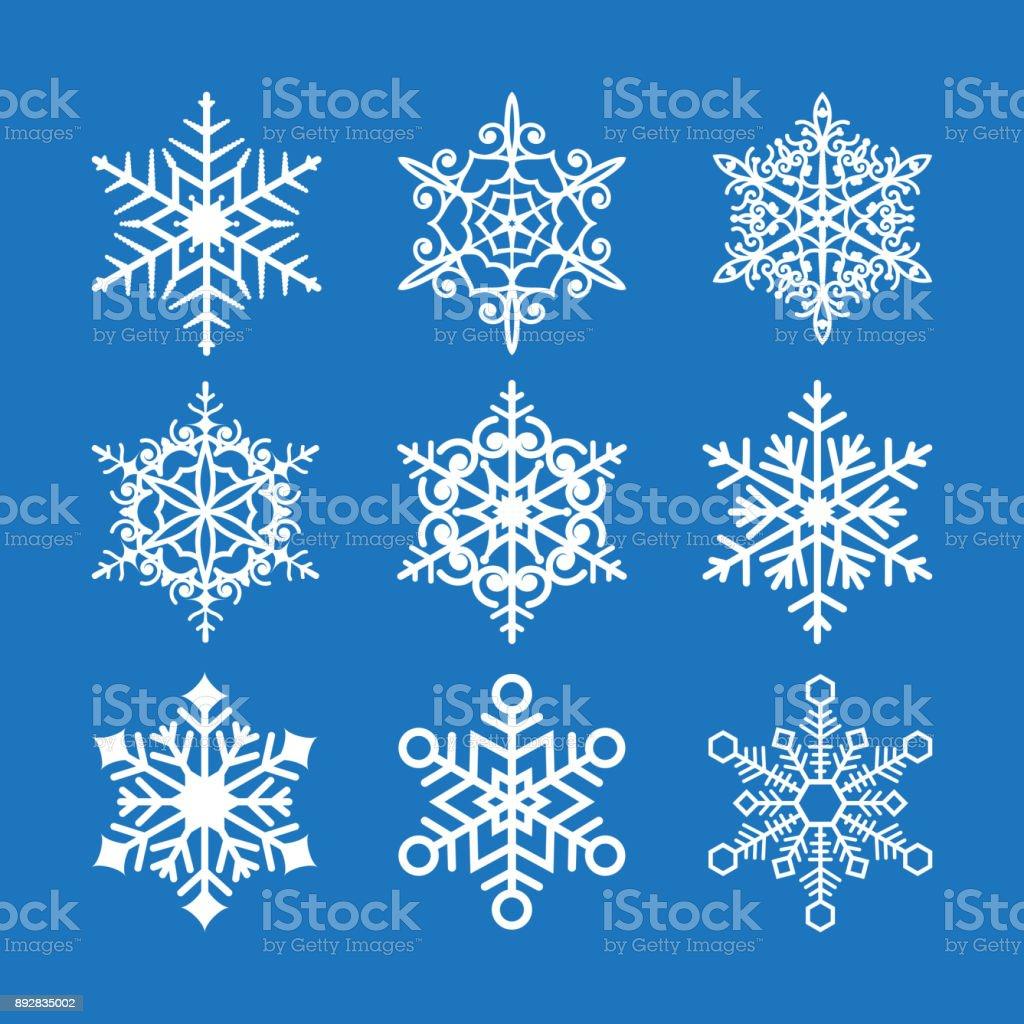 Snowflakes set vector background vector art illustration