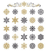 Vector illustration of the snowflakes set