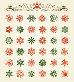 Vector illustration of the 36 red and green snowflakes set.