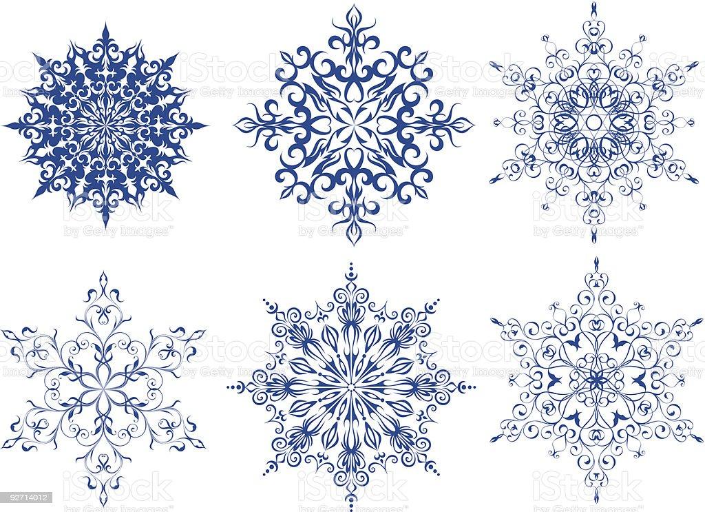 Schneeflocken set Lizenzfreies schneeflocken set stock vektor art und mehr bilder von abstrakt