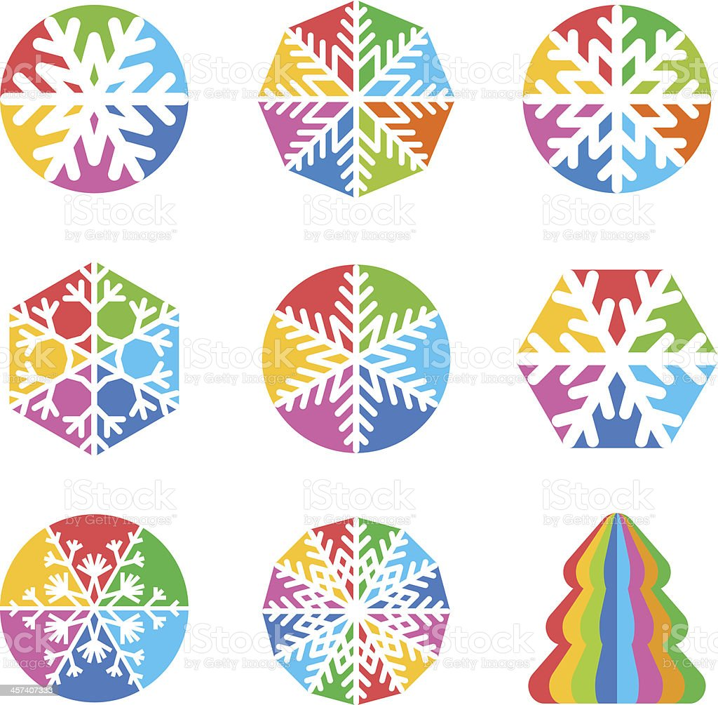 Snowflakes vector collection with Christmas Tree vector art illustration