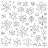 Set of vector snowflakes. Vector line illustrations. Design elements isolated black on white background. Vector icon set. Thin line icon collection. One color - black.
