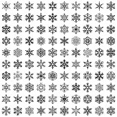 Set of vector snowflakes. Design elements isolated black on white background. Vector icon set.