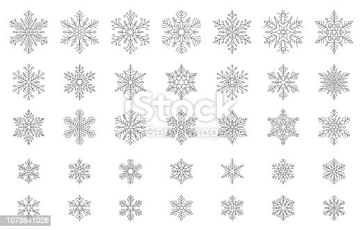Set of vector snowflakes. Line vector illustration. Design elements isolated black on white background. Vector icon set. Thin line icon collection. One color - black.