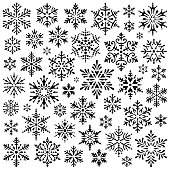 Set of vector snowflakes. Stencil shapes. Design elements isolated black on white background. Vector icon set. Collection of different variations. One color - black.