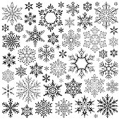 Set of vector snowflakes. Design elements isolated black on white background. Vector icon set. Collection of different variations. One color - black.