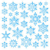 Set of vector snowflakes. Stencil shapes. Blue gradient design elements on white background. Collection of different variations.