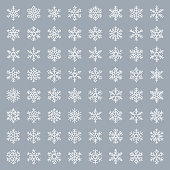 Set of snowflakes. Thin line icons set. Vector illustration. White design elements on gray background.