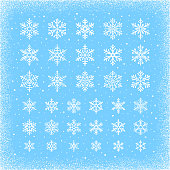 Set of snowflakes. Vector icons set. White design elements on light blue background. White grunge border frame.