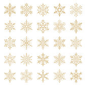 Set of vector snowflakes. Gold design elements isolated on white background. Vector icon set.