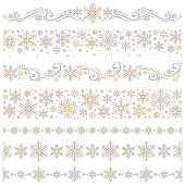 Design elements with snowflakes on white background
