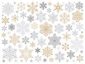 Set of vector snowflakes. Vector design elements isolated on white background.