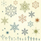 Vector set of the pencil drawn Christmas snowflakes.  AI, EPS, SVG and JPG.