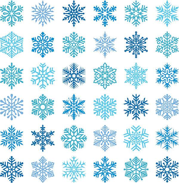 Snowflakes Set of 36 snowflakes. ice crystal stock illustrations
