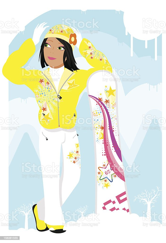 Snowgirl vector art illustration