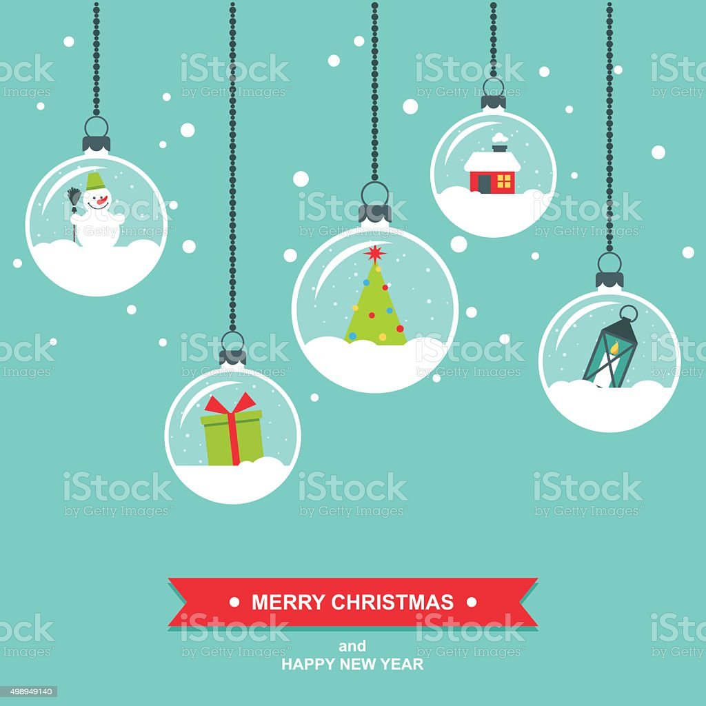 Snowglobes Decorations Flat Design Christmas Card Royalty Free Stock Vector  Art