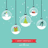Modern colorful flat design vector illustration/ greeting card with hanging snowglobes. Easy to edit, elements are grouped and in separate layers.