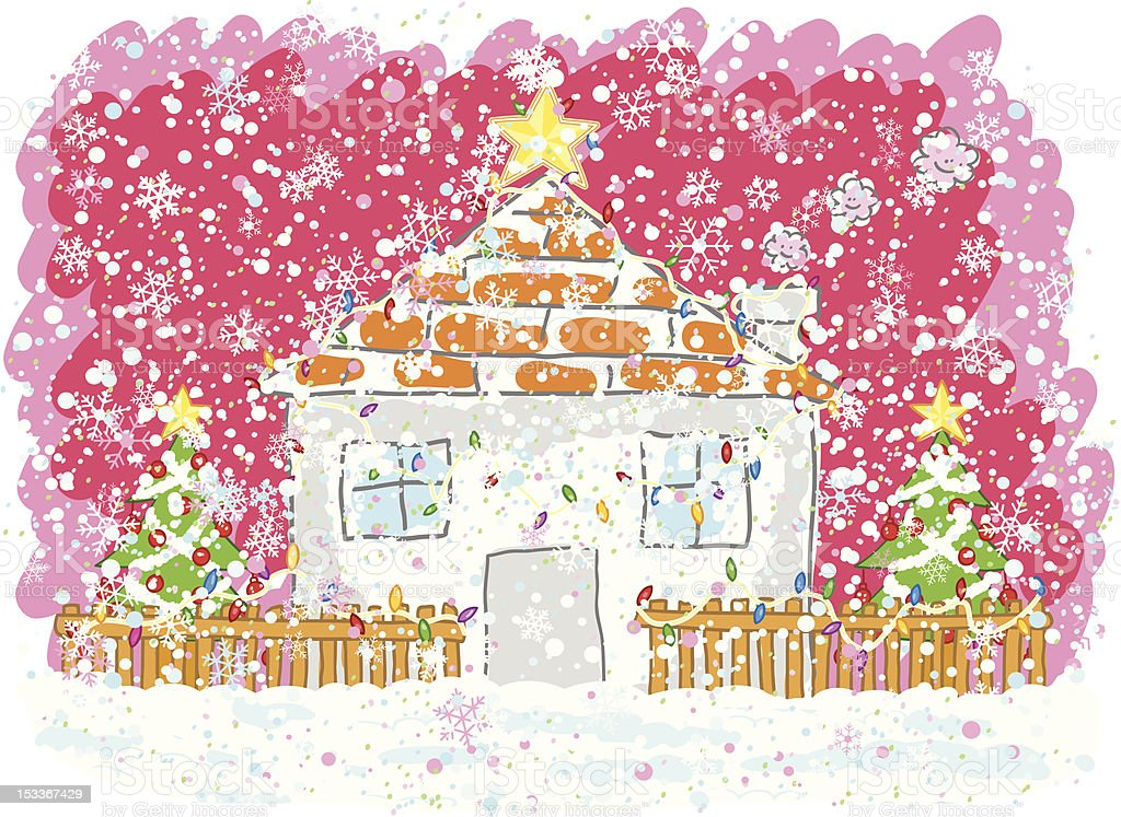 snowing christmas night cartoon illustration royalty-free stock vector art