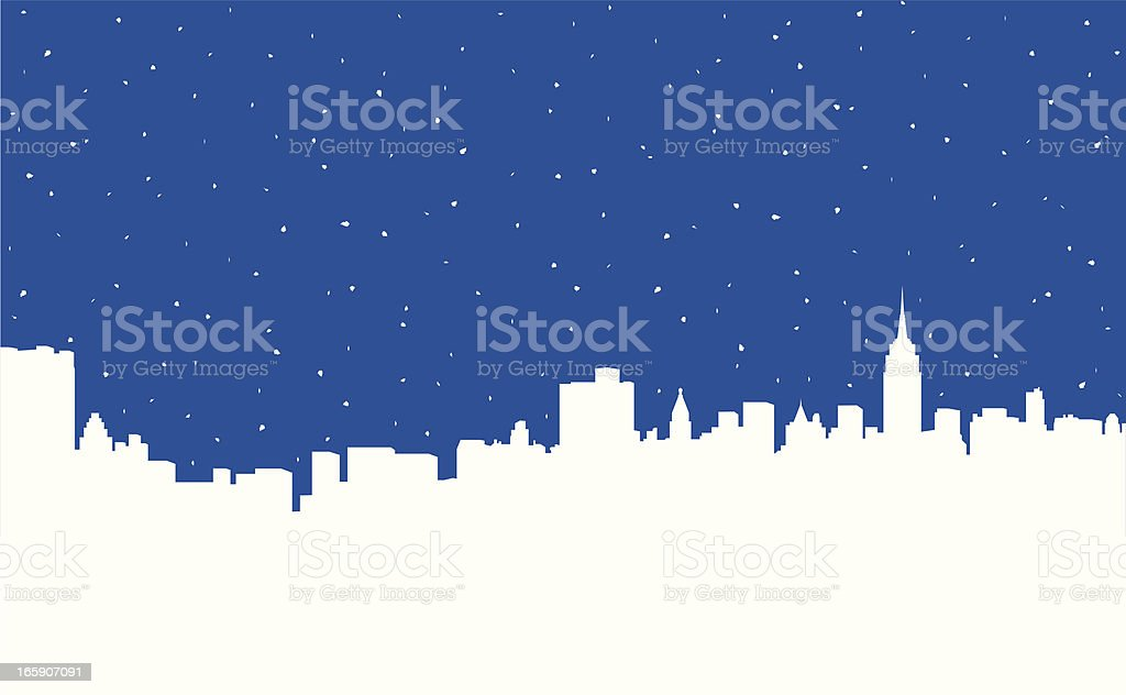 Snowing in NYC vector art illustration