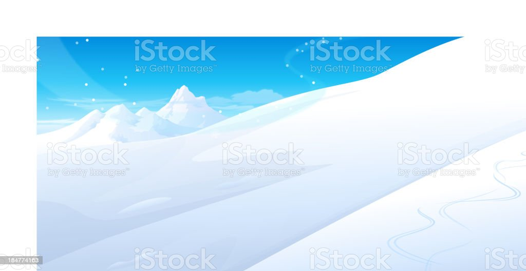 Snowing over snowcapped Mountain vector art illustration