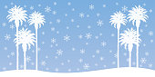 Vector illustration of white palm tree silhouettesaginst a snowflake filled sky.