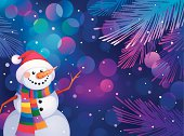 Christmas greeting card with snowman where you can put your text