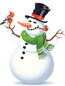 A smiling snowman with a bird sitting on his arm, isolated on white. EPS 8, grouped and labeled in layers.