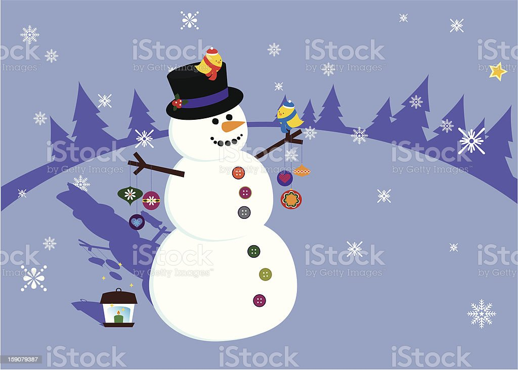 Snowman and Birds on a Snowy Winter Evening vector art illustration