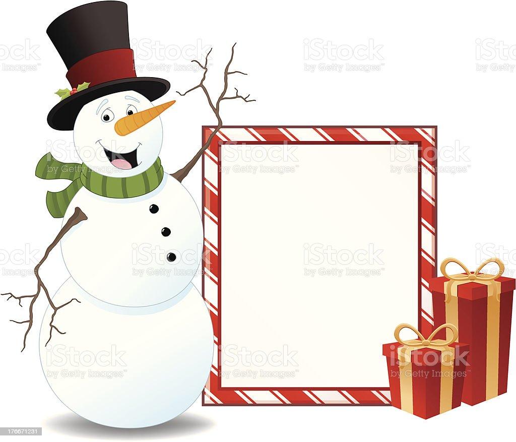 Muñeco de nieve y el blanco señal ilustración de muñeco de nieve y el blanco señal y más banco de imágenes de borde libre de derechos