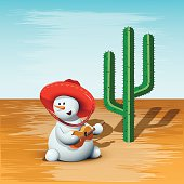 illustration merry Snowman in a sombrero and Cactus
