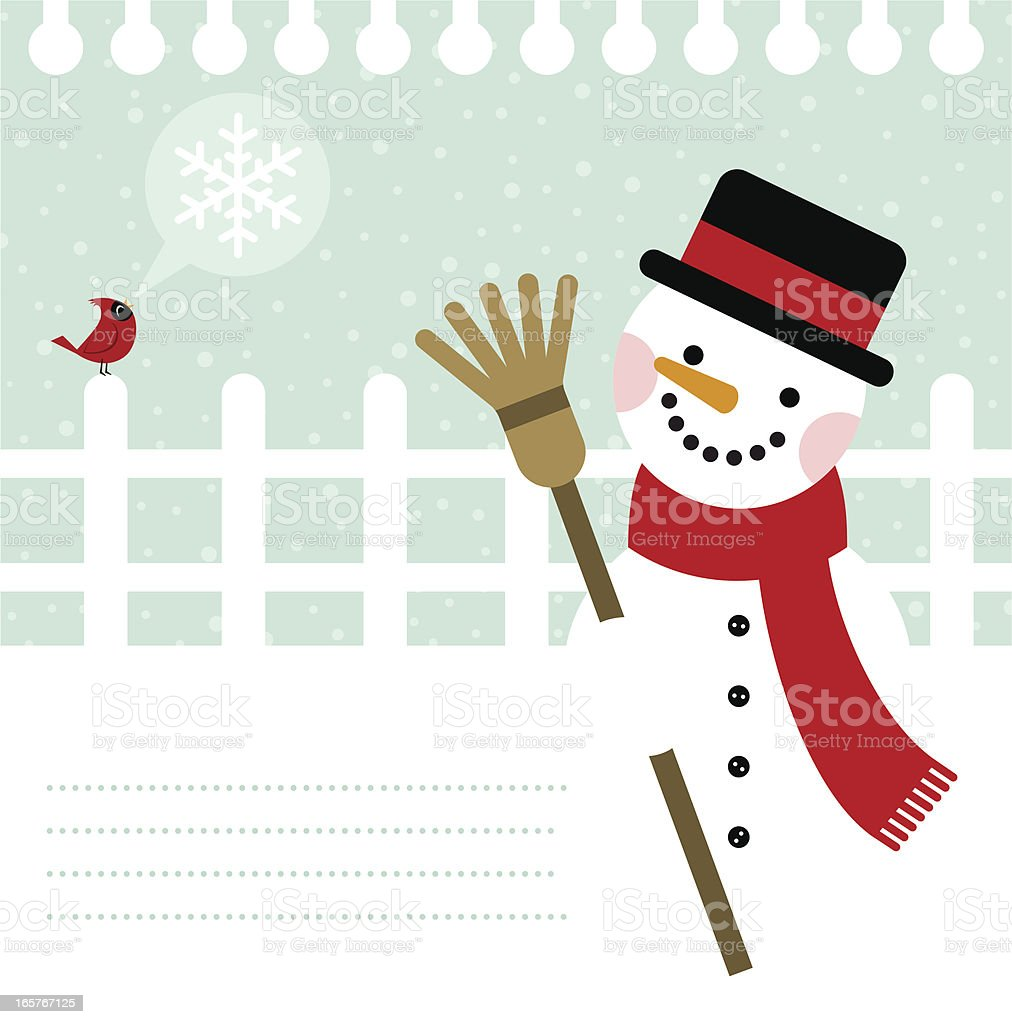 Snowman and cardinal bird background / cold & snow in winter royalty-free stock vector art