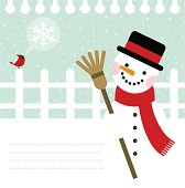 Snowman and cardinal bird background / cold & snow in winter