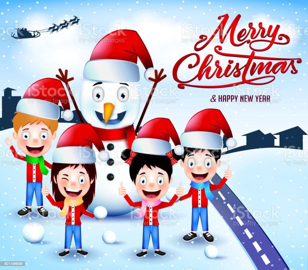 Snowman and Children Playing Snowballs Outdoor snowman and children playing snowballs outdoor – cliparts vectoriels et plus d'images de adolescent libre de droits
