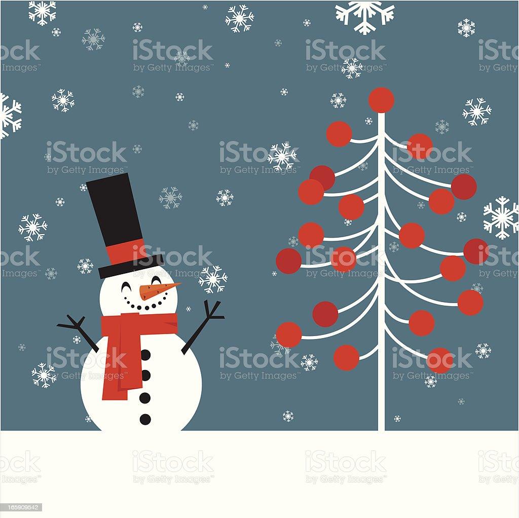 Snowman and Cristmas tree royalty-free stock vector art