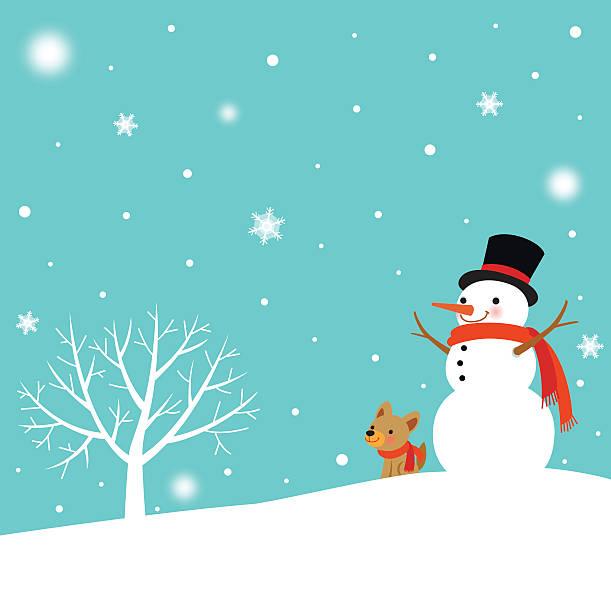 bildbanksillustrationer, clip art samt tecknat material och ikoner med snowman and cute dog in winter - hund skog