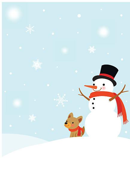 schneemann und niedlichen hund winter-hintergrund - schoßhunde stock-grafiken, -clipart, -cartoons und -symbole