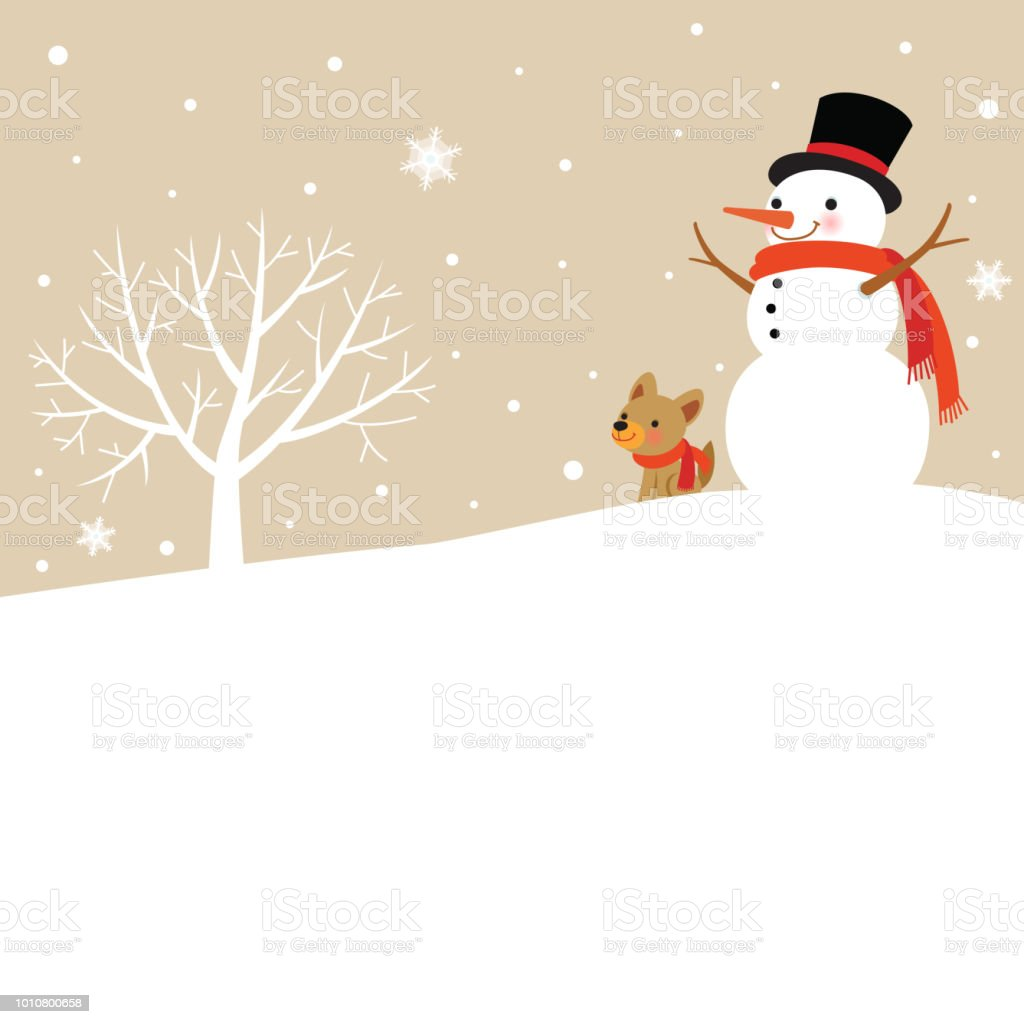 Bonhomme de neige et chien mignon avec arbre d'hiver - Illustration vectorielle