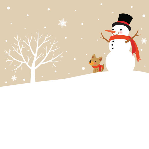 Snowman and Cute Dog with winter tree Snowman,Cute,Dog,winter,tree,snow,snowflake,nature,snowy,white,Christmas,holiday,background,illustration snowman stock illustrations