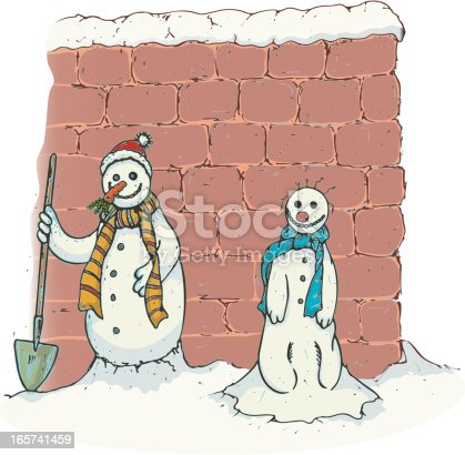 istock Snowman and Friend 165741459