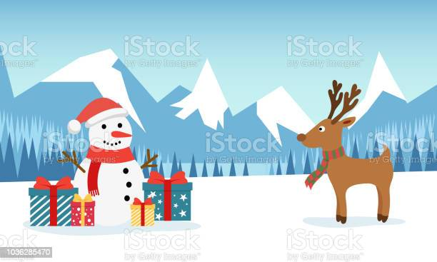 Snowman and funny deer on the background of a winter mountain with a vector id1036285470?b=1&k=6&m=1036285470&s=612x612&h= bl4cf r3 bjtdb wkya7r tj0a0n3s1oqssuigv44e=