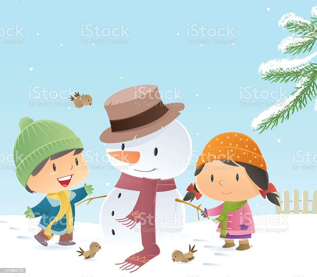 Snowman and kids royalty-free snowman and kids stock vector art & more images of baby
