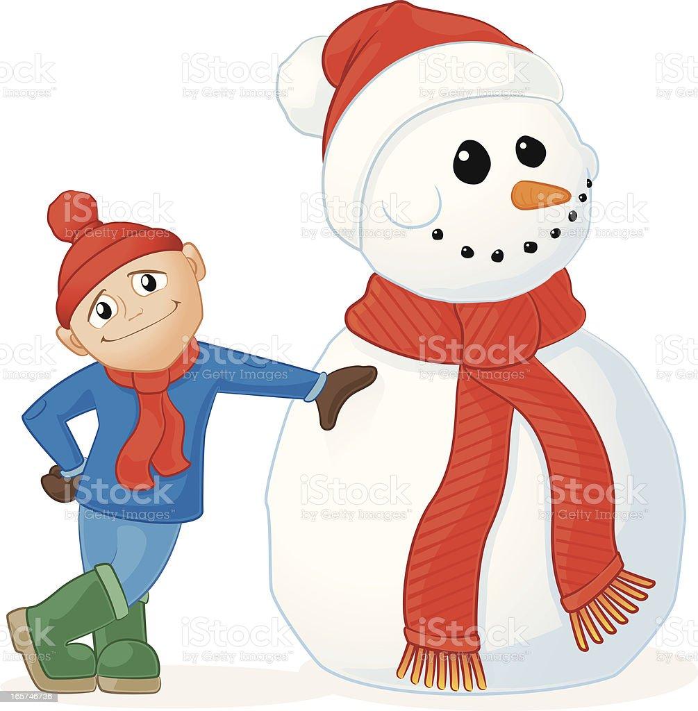 Snowman and Little Boy vector art illustration