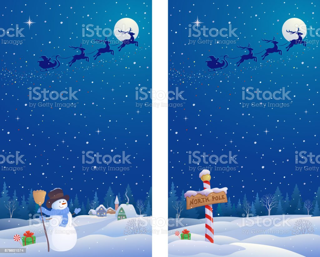 Snowman and north pole banners vector art illustration