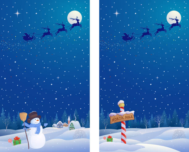 Snowman and north pole banners Vector illustration of cute snowman and North Pole landscapes north pole stock illustrations