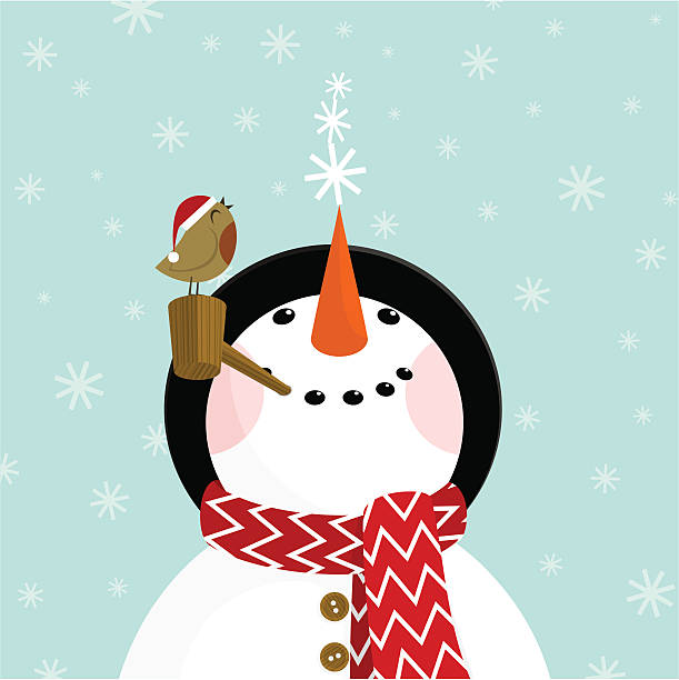 Snowman and robin Snowman with snowflakes. Please see some similar pictures in my lightboxs: snowman stock illustrations