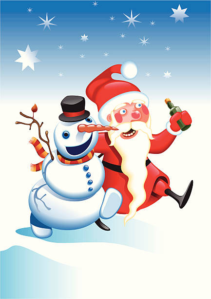 Best Drunk Snowman Illustrations Royalty Free Vector