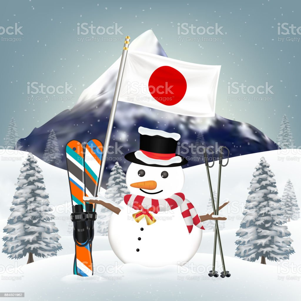 snowman and ski equipments at japan winter hill vector art illustration
