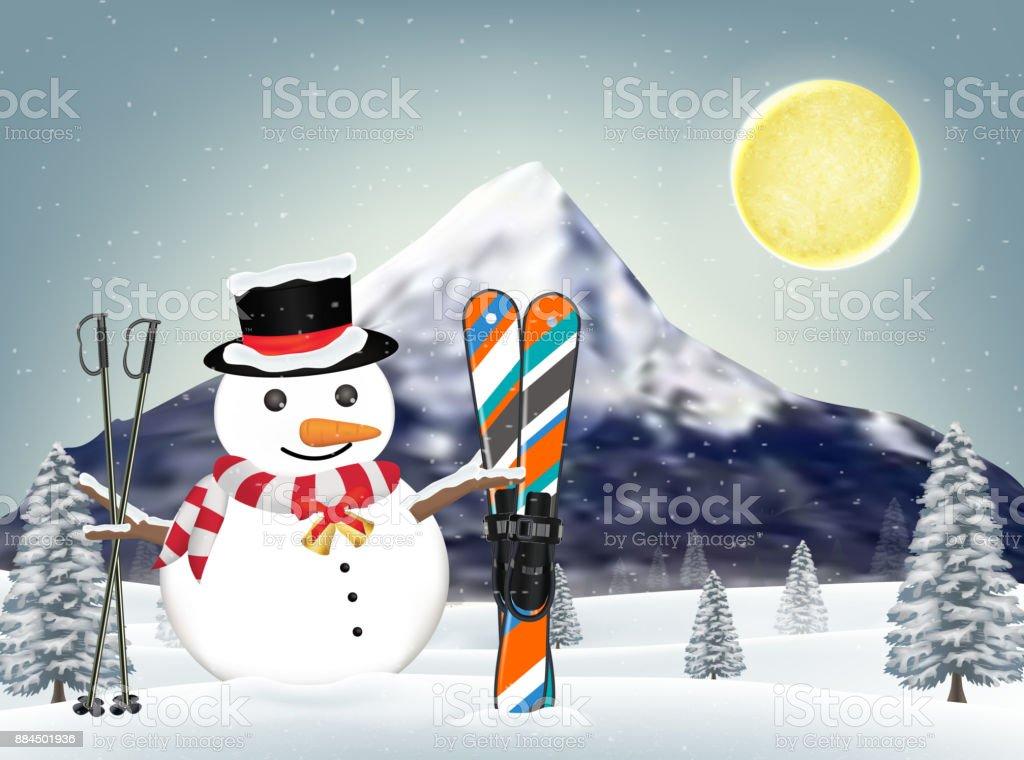 snowman and ski equipments at winter hill vector art illustration