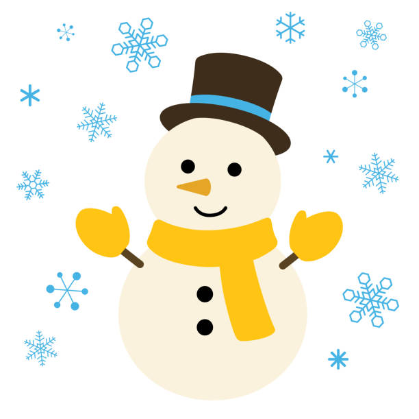 Snowman and snow illustration Snowman and snow illustration snowman stock illustrations